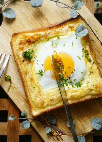 目玉焼きの周りをマヨネーズで囲ったレシピ。ぷるぷるの半熟卵がとっても美味しそう!材料はシンプルですが、コクがあって贅沢な味です。