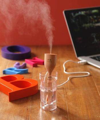 USB電源で使える加湿器。ケースに水を入れて立てかけるようにして使います。小さくてどこでも使えるので、持ち運びに便利です。職場に、旅行先にいろんな場所に連れていける相棒です。