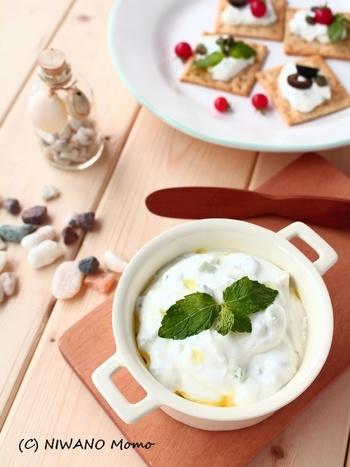 ギリシャ料理のソースとして使われる「ザジキ」は、水切りヨーグルト+きゅうりで出来ちゃいます。ヨーグルトの酸味とキュウリが相性◎。さっぱりしているのでクラッカーの他、肉魚料理にもぴったりです。