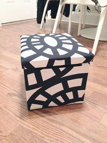 こんなに素敵な箱に変身。箱にはぎれを貼りつけるだけなので、お子さんと一緒にしても楽しめそうです♪