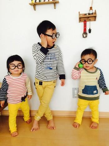 3人で合わせるのもとってもかわいい! よく見ると少しずつデザインが違うのも良いですね。 丸メガネがおちゃめ。