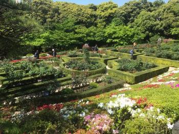 左右対称の幾何学模様の刈込のフランス整形式の西洋庭園。公園内には、和風庭園もあります。庭園は大正初期の原型を留める貴重なもので文化財保護法により国の名勝指定を受けています。