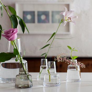 ホルムガードはデンマーク王室御用達のグラスウェアブランドです。シンプルだけど、どこかスタイリッシュな個性を感じさせ、何気なく生けた花でもまるで美しいオブジェのよう。