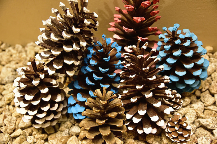 定番の赤や緑、冬の雪を思わせる白、ゴールド、ブルーなど、お好きな色のペイントを楽しみましょう!