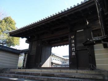 """智積院の北側に位置する「妙法院」は、*天台宗三門跡寺院の一つ。 「妙法院」は、後白河法皇、豊臣秀吉ゆかりの寺院と知られる名門寺院です。先に紹介した「三十三間堂」は、妙法院が所管する仏堂です。約4.5万平米を誇る広大な境内には、本堂や宸殿をはじめとする由緒ある建物が建ち並んでいます。  (*「門跡」とは、平安期以降、皇族や貴族の子弟が出家して居住した特別な寺院で、室町期からは寺院の格式を示しています。青蓮院、三千院、妙法院が""""天台宗三門跡""""。)"""