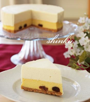レアチーズケーキもベイクドチーズケーキも一緒に食べられる二層チーズケーキだけでなく、チーズの種類を変えて味を楽しめるのも二層チーズケーキの嬉しいところ!濃淡つけられるので、食べていても飽きません!シンプルにチーズの味が味わえるのも魅力ですね。