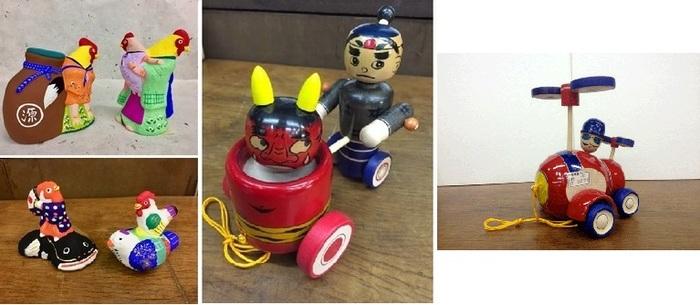 画像左から、小幡土人形(滋賀県)、左下:中湯川土人形(福島県)、真ん中&右上:米沢の木地玩具(山形県)。張り子、土人形、お面、招き猫、こけし、こま、古玩具…全国の郷土玩具が一堂に。
