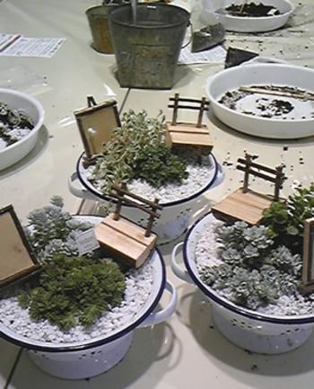 キッチンで使うホーローアイテムを花器にしても可愛いですね。カントリー調のコランダーに寄せ植えをして。アクセントに木のオブジェを飾ると、また違った世界観が展開されます。