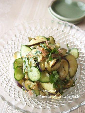 なすときゅうり。夏野菜をふんだんに使ったサッパリレシピ。ガラスの器が涼しげですね。
