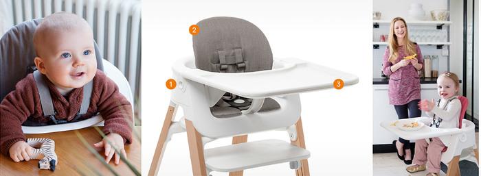 【写真、真ん中】  ①ベビーセット(赤ちゃんがチェアからずり落ちないための5点式ハーネス付き) 工具なしで設置OK。6ヶ月頃~3歳頃まで使用できます。  ②専用クッション(ベビーセットの座面と背もたれに取り付けられるクッション) 撥水加工を施していて、汚れたら洗濯機もOK。6色から選べます。  ③トレイ(食べこぼしを防ぐふちの付いた専用トレイ)