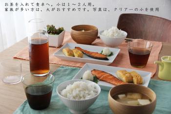 もちろん、普段の食卓でも大活躍♪夏の食事のお供はやはり冷たい麦茶ですよね。飲み切る量だけカラフェに入れておけば気になる衛生面も安心です。