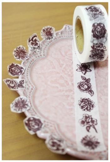 こんな風に花柄のマスキングテープのお花だけを切り取って…