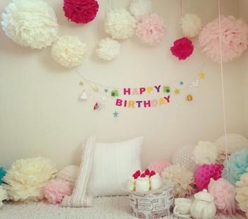 お子さんの誕生日パーティー♪  こんなにかわいく飾りつけしたら、きっと喜んでくれそうですね!