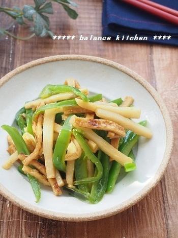 お肉の代わりにさつま揚げを使って作る青椒肉絲。ヘルシーで冷めても固くならないのでお弁当にもぴったりです。