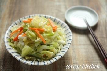 とてもシンプルですが、オリーブオイルの香りと風味がキャベツ本来の旨みを際立ててくれる一品です。