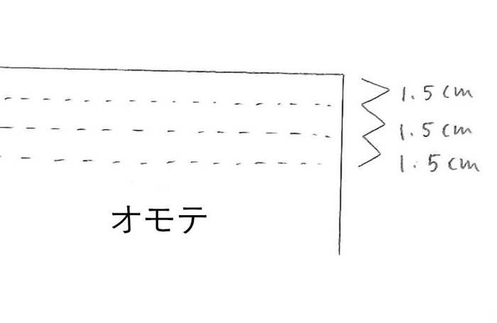 ③ 図のように、ウエストにさらにステッチをかけ、ゴムを通したら完成です。