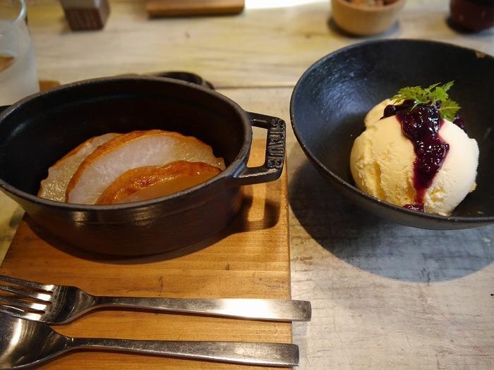 【画像は『和梨のオーブン焼き・バニラアイスのセット』】