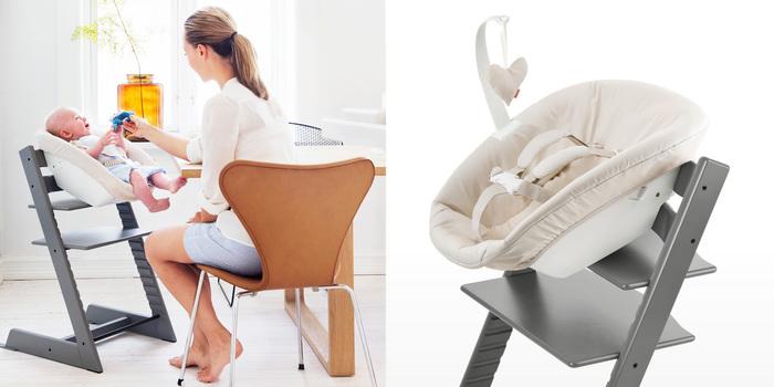 (写真右)トリップトラップにセットすることで、食事の時間も、赤ちゃんと一緒にテーブルを囲むことができます  (写真左) 大人の目線に近い場所で赤ちゃんをみることができるので、親の顔が見えなくなってしまうと泣いてしまう赤ちゃんも、ご機嫌です