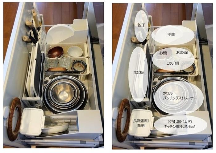 包丁立てとまな板スタンドはデフォルトで付いていたものをそのまま使っています。  ニトリ「ファイルスタンド ワイド(SOFFICE )」には平皿を立て、おろし器やはかりは、無印良品「ファイルボックス」に収めています。その理由は…? ↓↓↓