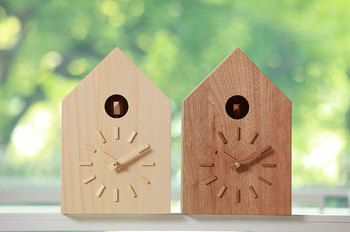 森林保全団体「more Trees design(モア・トゥリーズデザイン/モアツリーズデザイン)」の鳩時計。間伐材を使った木製の鳩時計です。木のぬくもりにほっと癒されます♪