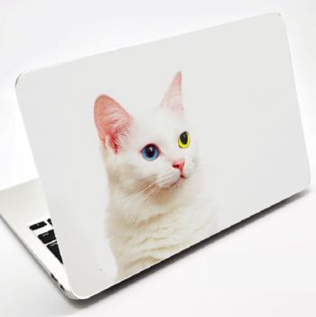 黄色い方の目がAppleマークで光るデザインのシールを貼り付けて。ネコが好きな方にはぜひおすすめです。