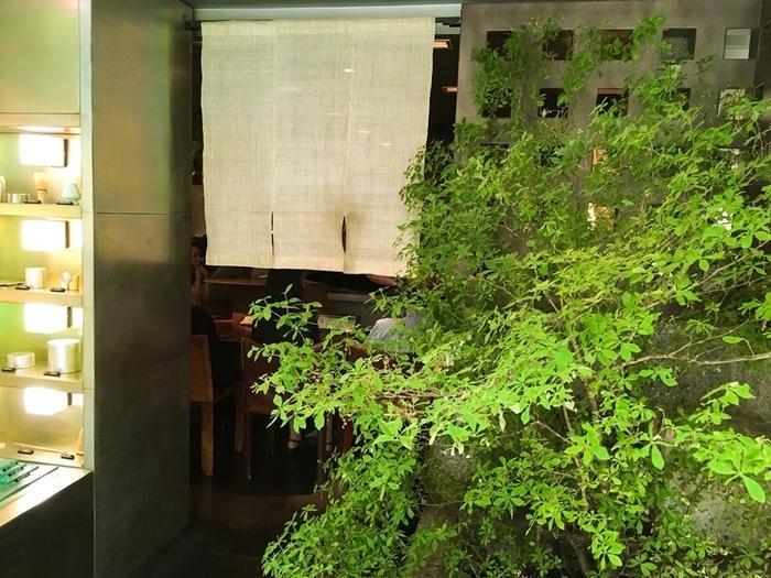 銀座は松屋の地下にあるのは「茶の葉」。店内は「自分を見つめ直す時間と空間」(間)を提供したいというコンセプトを元に、落ち着いた空間となっています。