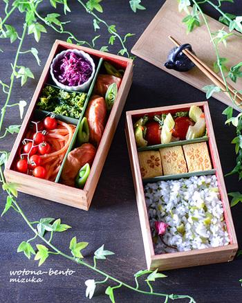容量がたっぷり入る2段のお弁当箱。きれいに仕切りをすることで、副菜やメインのおかずを崩れずに詰められます。長方形型は縦や横で区切りやすいのがポイントですね。