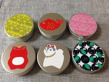 小さな缶・縁起缶キャンディ・健康梅のど飴缶と、ヒトツブカンロには可愛くてオシャレな缶に入った飴がいっぱい!