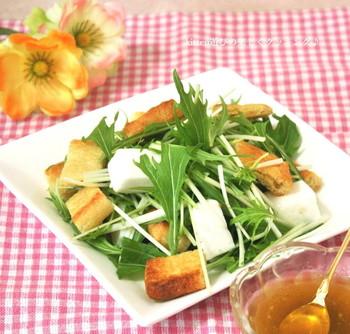 カリカリの油揚げと、ふわふわのはんぺんの食感を楽しむサラダです。水菜をたっぷり添えて、柚子胡椒と麺つゆのドレッシングで頂きます。