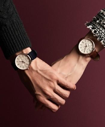 BERINGの腕時計は、カジュアルにもフォーマルにも着こなせる洗練された大人のドレスウォッチ。彼とお揃いにしてもオシャレですね。