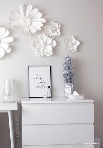 真っ白な空間がちょっとさみしい……そんな時に、ぽんぽんっと飾ってみましょう! ぱっと目を引くコーナーの出来上がりです!