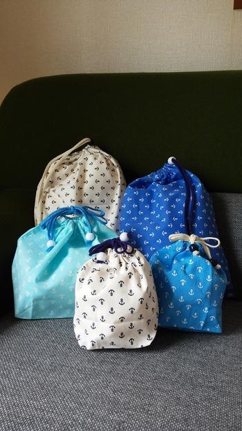 巾着袋も大きさによって弁当袋・コップ入れ・着替え袋などが作れます。