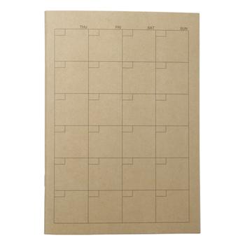 開くと見開きのマンスリータイプで、日付も自分で書く仕様のものも。