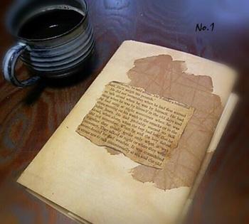 アンティークのブックカバーかと思いますが・・・コーヒー染めを施した厚手の障子紙で出来ています♪ 単行本が、かっこいい洋書のような雰囲気に。