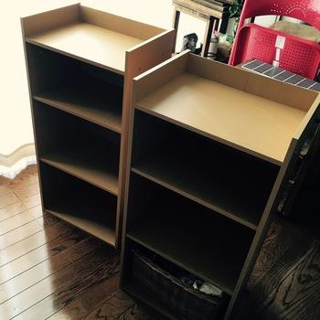 一般的なカラーボックス(こちらはニトリのもの)。これをキッチンカウンターに大改造しちゃいます☆