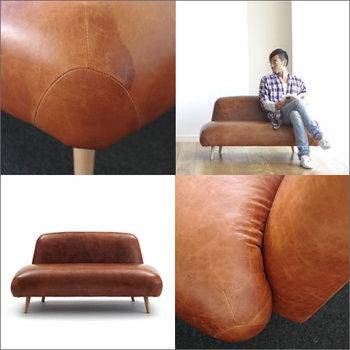 ハンバーガーのバンズみたいにふっくら張りのあるボディが個性的な、その名も「Buns Sofa」。