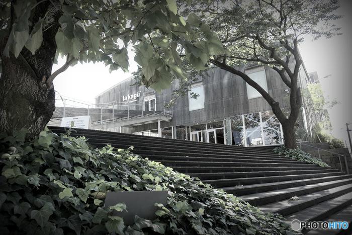 2014年10月に神楽坂の新たなオシャレスポットが誕生した「la kagu(ラカグ)」。大きな倉庫のような外観、大階段のある空間。大階段は巨大なベンチとして、座ったり本を読んだり、パブリックスペースとして自由に使えます。