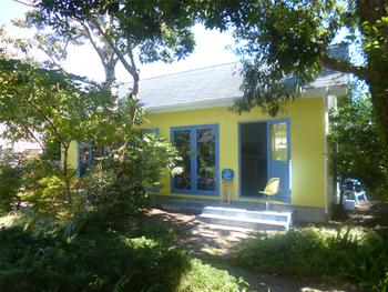 日頃の疲れを木漏れ日の中で癒したい方にオススメなのが、黄色い壁と青い窓枠が小説に出てきそうな素敵なたたずまいの「田」です。