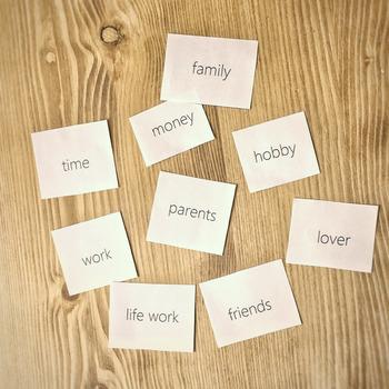 たとえば「友人」「家族」「恋人」「自分の時間」「仕事」「お金」「趣味」などなど……。