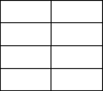 どんな切り方でもいいのですが、この図の「黒い線」のとおりに切り分ければ、1枚の紙からちょうど8枚の「カード」ができます。