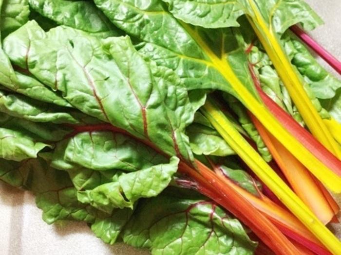 """カラフルな茎の色が特徴のスイスチャード。ホウレンソウの仲間で四季を通して栽培可能なことから、""""不断草""""という和名もあります。また、β-カロテン、ビタミンB1、カルシウム、鉄分などが豊富な嬉しい野菜です。"""