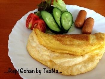 ワンプレートにして、朝食にもぴったりですね★ 卵1個でもフワッフワに作れるそうです。