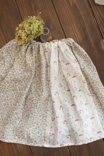 なんと、お子さん用のかわいらしいスカートに変身です♪2枚をつなげて、ゴムを通すだけでできてしまいますよ。ぜひお試しを。