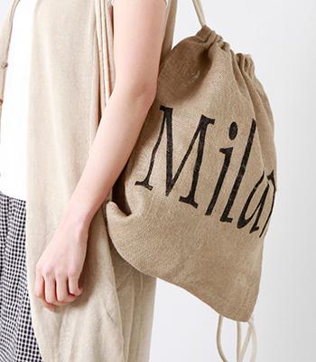 Maison Bengal(マイソンベンガル)のジュートバックパック。天然素材のジュートをハンドメイドで編み上げたバックパックは、柔らかいのに強くて丈夫なので、折りたたんで鞄に入れておけばお買い物や旅行のセカンドバッグとしても便利です。
