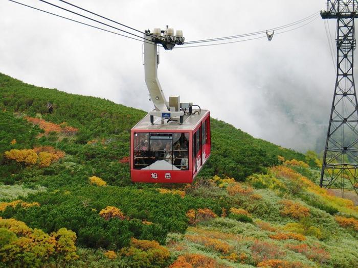 旭岳山麓駅(標高1100m)から大雪山系の主峰旭岳の5合目・姿見駅(標高1600m)までを運行する、101人乗りのロープウェイ。5合目には1周約1時間の姿見の池周遊コースが整備されています。