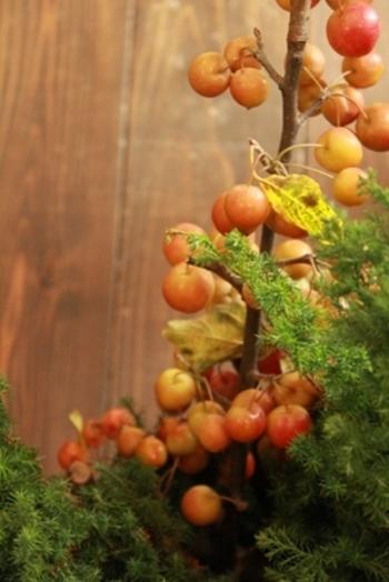 ワンポイントとして可愛い姫りんごゴージャスを添えて。 緑一色のリースが、ぐっとクリスマスらしくなります。