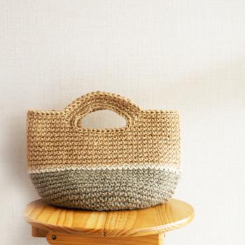 """「麻ひも」と「かぎ針」で。基本の編み方だけで""""麻ひもバッグ""""を作ってみよう♬"""