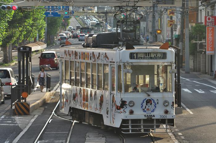 """岡山城へは、JR岡山駅からバスか路面電車を利用しましょう。  ◆バス:岡電バス「岡電高屋行き」、両備バス「東山経由西大寺行き」に乗車し、「県庁前」下車。徒歩5分 ◆路面電車:「東山行き」に乗車、「城下」下車。徒歩10分。 (※後楽園へ直接行くときは、岡電バス「藤原団地行き」乗車、「後楽園前」で下車すぐ。)  路面電車は、岡山市民の足。便数が多いので観光に便利です。 【画像は、人気の""""たま電車 岡電版""""。】"""