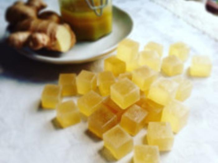 【ジンジャーシロップの琥珀糖】 体がぽかぽか温まるジンジャーシロップで作る琥珀糖のレシピです。