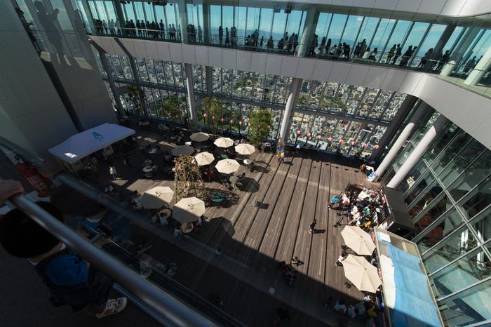 あべのハルカスの展望台「ハルカス300」の58F、天空庭園では「クールビアガーデン」が開催されたこともあります。